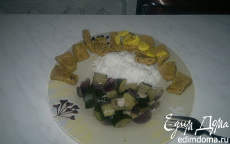 Рецепт Говядина Табаско + рис и цукини