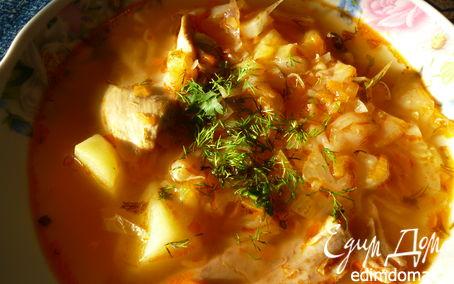 Рецепт Щи из свежей капусты с солеными помидорами.