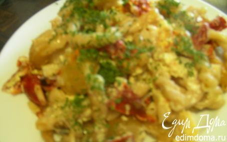 Рецепт Запеканка из макарон со сливками, вялеными томатами и кедровыми орешками