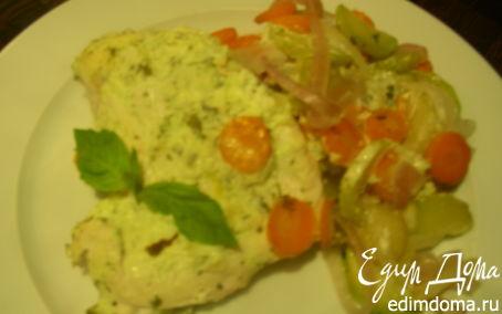 Рецепт Куриная грудка, запеченная в соусе из Филадельфии, базилика и чеснока