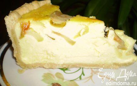 Рецепт Творожный пирог с тушеными яблоками