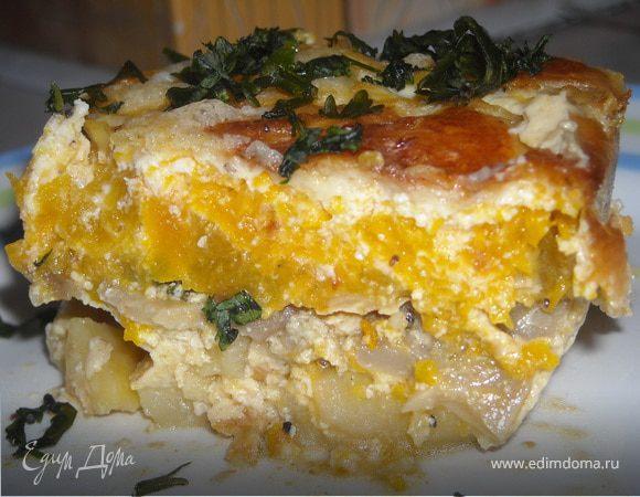Тыквенная запеканка с картофелем и грибами