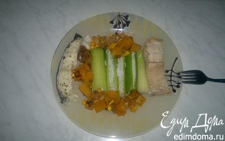 Рецепт Трубочки из лука порей с рисом, остро-сладкий овощной чатни и два вида отварной рыбы