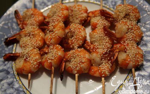 Рецепт Креветки с имбирем и медом под грилем