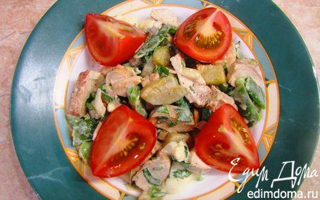 Рецепт Теплый салат из куриной грудки с овощами