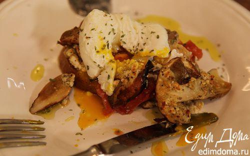 Рецепт Бутерброд с грибами, помидором и яйцом пашот