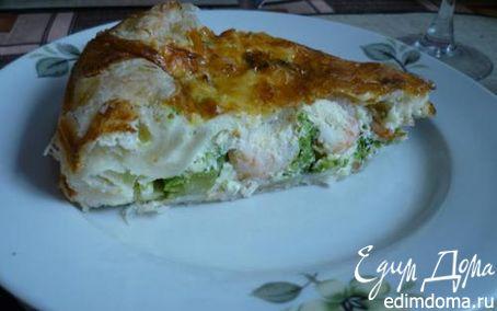 Рецепт Пирог с брокколи и креветками