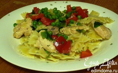Рецепт Яркая паста с горошком, перцем и индейкой