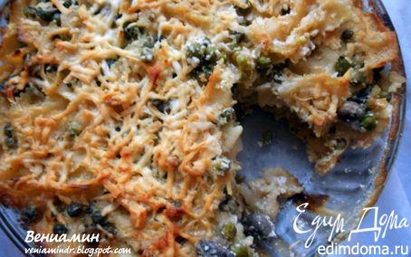 Рецепт Паста, запеченная с шампиньонами, зеленым горошком и сливочно-творожным соусом