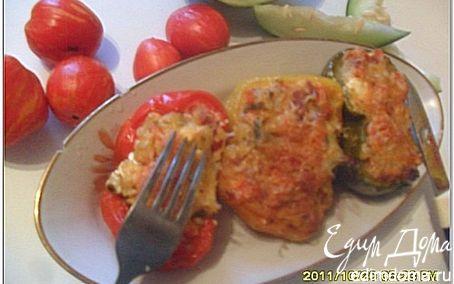 Рецепт Перец, фаршированный картофелем и овощами