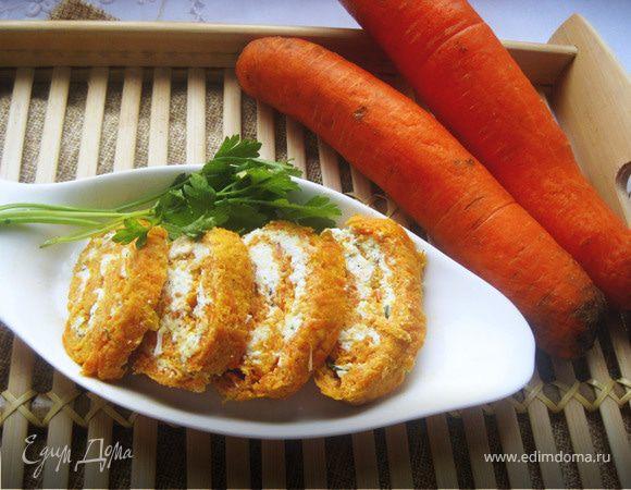 Морковные рулетики с творожным кремом