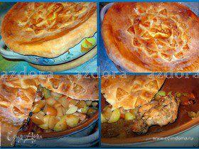 Кролик с яблоками под хлебной корочкой