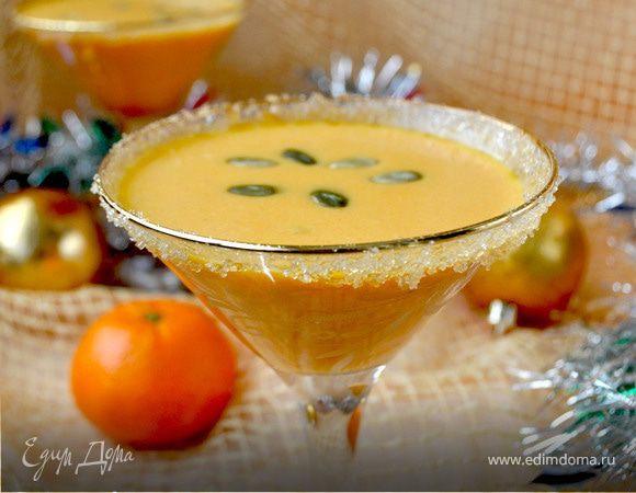 Фуршетный новогодний суп с тыквой, мандаринами и имбирем