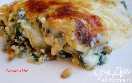 Рецепт Лазанья со шпинатом, рикоттой и кедровыми орешками