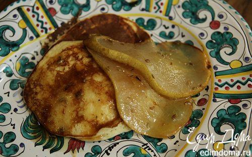 Рецепт Блины из рикотты с карамелизированной грушей