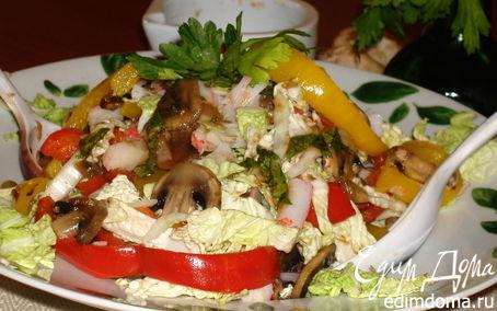 Рецепт Салат из грибов с крабами