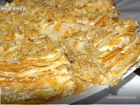 Торт «Наполеон» классический, из домашнего слоеного теста с заварным кремом