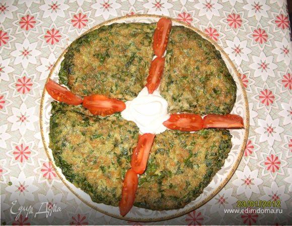 Зеленый омлет по-азербайджански