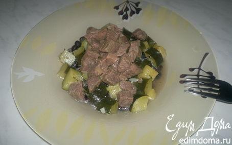 Рецепт Похлебка с черными бобами и мясом черного бычка + цукини с ананасом и чесноком