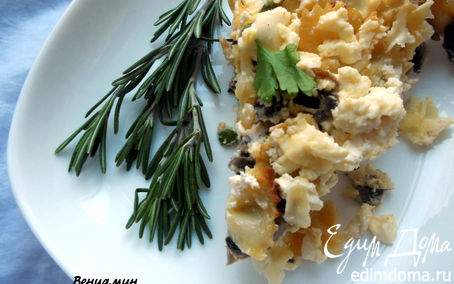 Рецепт Фриттата с пастой, шампиньонами и фетой