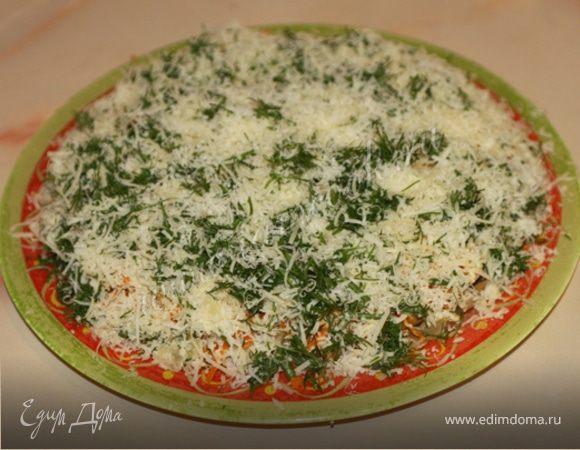 Сырный салат с грибами