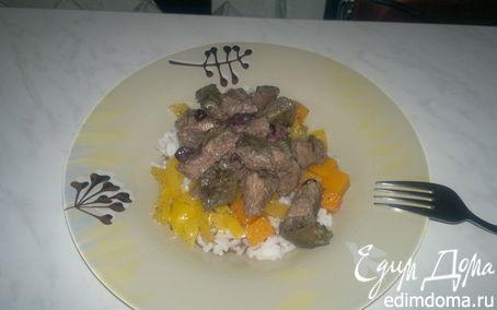 Рецепт Печень в горшке с черной смородиной и белый рис с овощной поджаркой