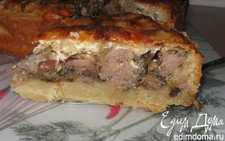 Рецепт Киш с куриной печенкой и баклажаном