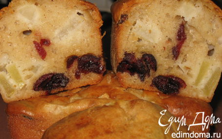 Рецепт Яблочные кексы с вяленой клюквой