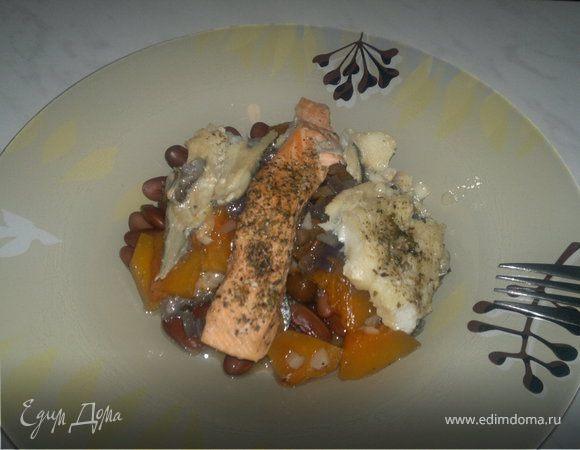 Фасолевая похлебка с рыбным миксом и овощами