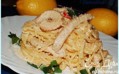 Рецепт Спагетти с индюшкой и лимоном .