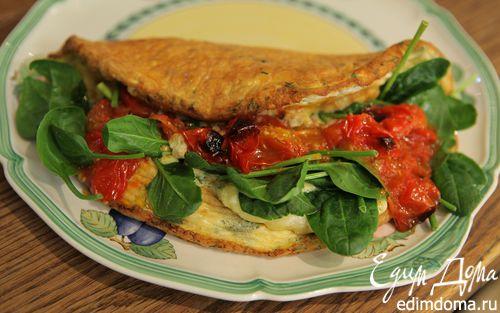 Рецепт Омлет со шпинатом и помидорами черри