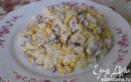 Рецепт Ананасовый салат с куриным филе