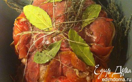 Рецепт Запеченная фермерская курица с чесноком и пармской ветчиной