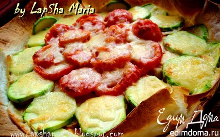 Рецепт Открытый пирог из лаваша с курицей, кабачками и томатами