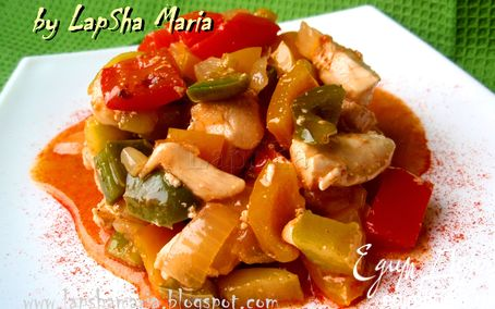 Рецепт Курица с разноцветными перцами