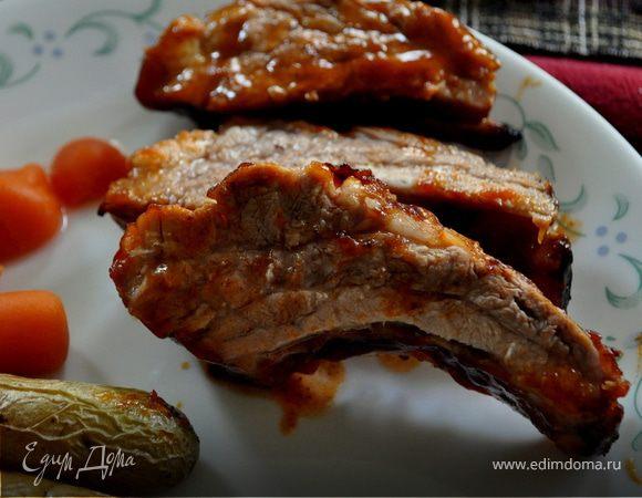 Свиные ребрышки в домашнем барбекю соусе