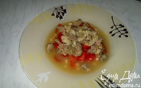 Рецепт Похлебка с куриными желудками и бедром индейки со сладким перцем