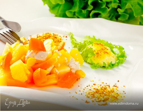 Салат карри с ананасом