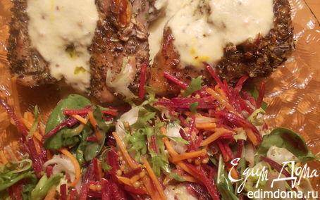 Рецепт Свинина с сырным соусом и легким салатиком