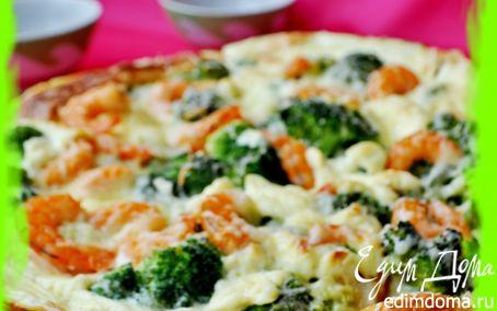 Рецепт Закусочный пирог с брокколи,креветками и пармезаном