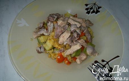 Рецепт Чечевица с овощами и чесноком, желудки и грудка индейки