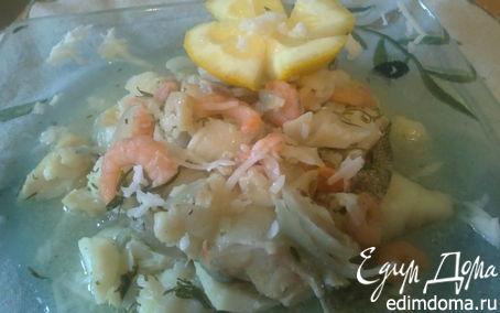 Рецепт Треска в горчичном соусе с креветками и зеленью