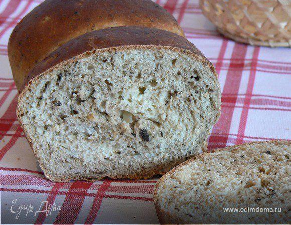 Хлеб с грибами,луком и укропом
