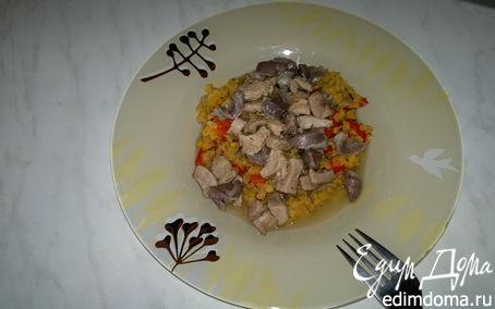 Рецепт Острая чечевица с перцем и луком ( возможен постный вариант ) + желудки и бедро индейки