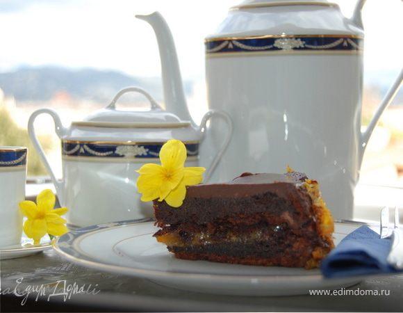 Шоколадный торт с апельсиновым джемом без муки