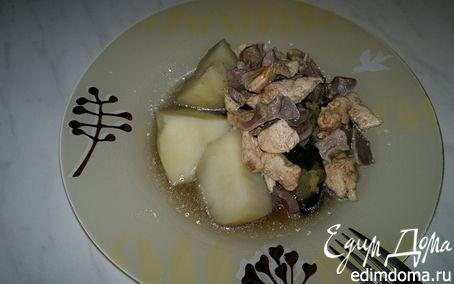 Рецепт Картофель с тушеным баклажаном, имбирем и мясо птицы