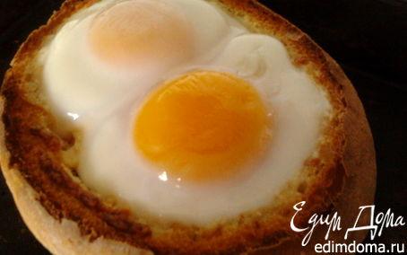 Рецепт Фаршированный хрустящий хлебушек с яичной шапкой