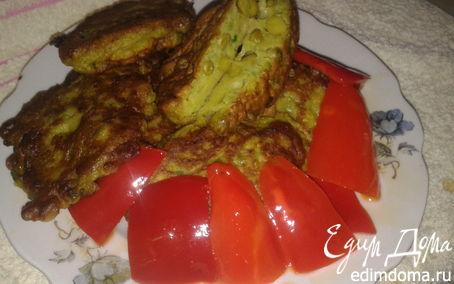 Рецепт Весенние оладьи с горошком и зелёным луком