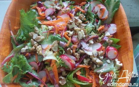 Рецепт Зеленый салат с редисом и морковью