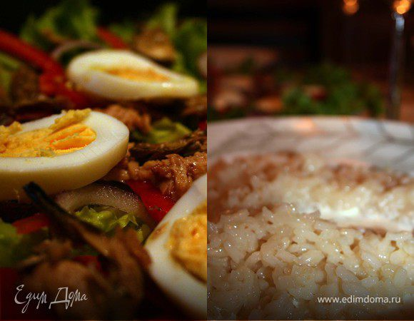 Ужин в Италии: салат с тунцом и ризотто по-милански